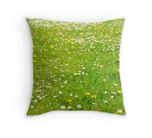 Green grass field Throw Pillow