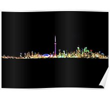 Toronto Skyline At Night From Centre Island Poster
