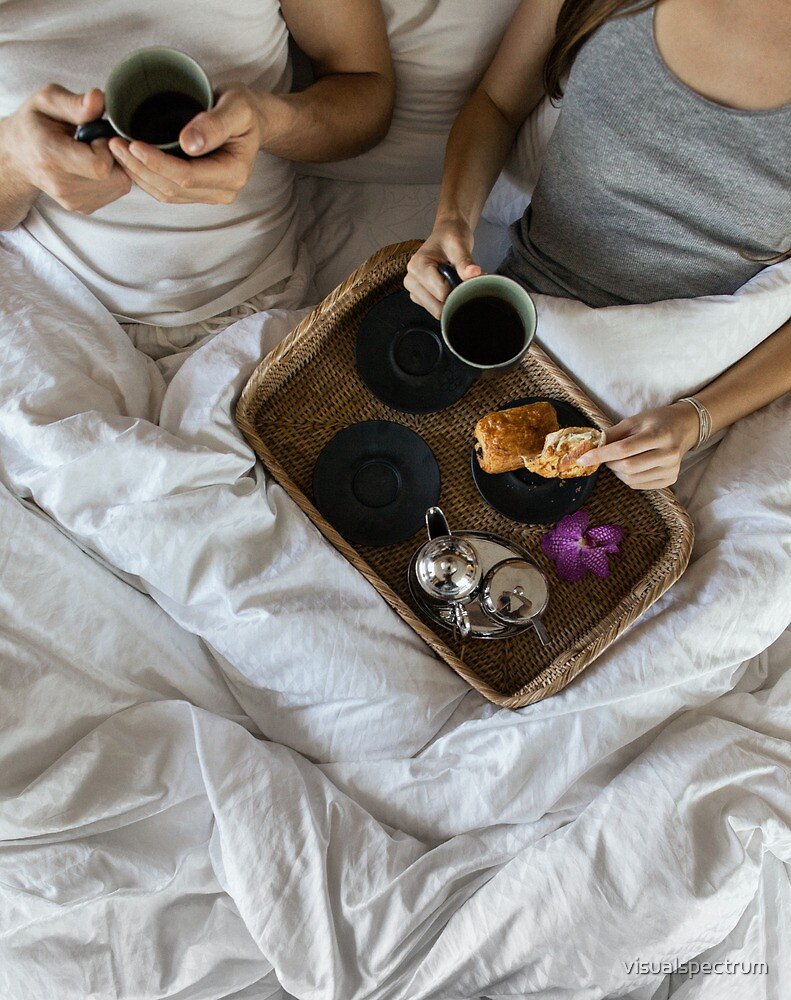 Quot Couple Drinking Coffee In Bed Quot By Visualspectrum Redbubble