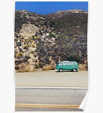 Turquoise VW Camper Van Poster