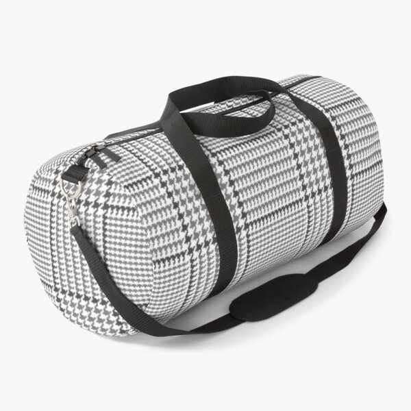 Prince of Wales Check Glen Plaid in Gray Duffle Bag