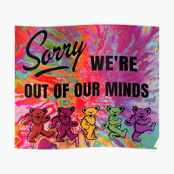 Tie Dye Dancing Bears tapestry Poster