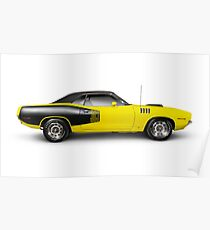1972 Dodge Challenger retro muscle car art photo print Poster