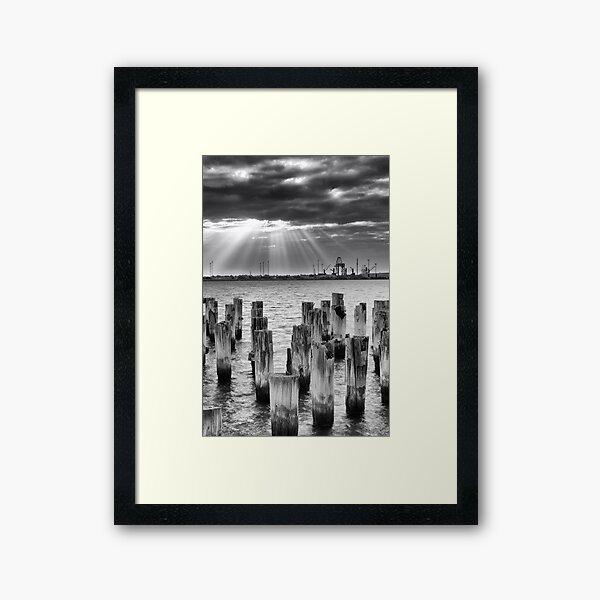 Princes Pier sunrays Framed Art Print
