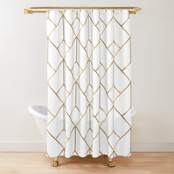 Geometric Gold Pattern Design #007 Shower Curtain