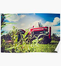 Red tractor / Tracteur rouge Poster