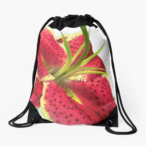 Hot Pink Lily Drawstring Bag