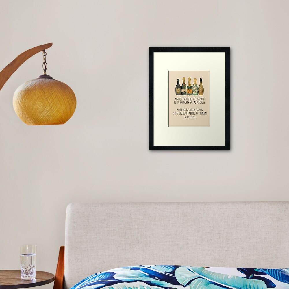 Always Keep Champagne In The Fridge Framed Art Print