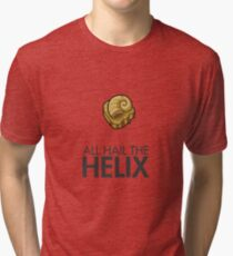 Twitch Plays Pokemon: All Hail The Helix! - Light Colors with Dark Text Tri-blend T-Shirt