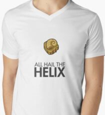 Twitch Plays Pokemon: All Hail The Helix! - Light Colors with Dark Text Men's V-Neck T-Shirt