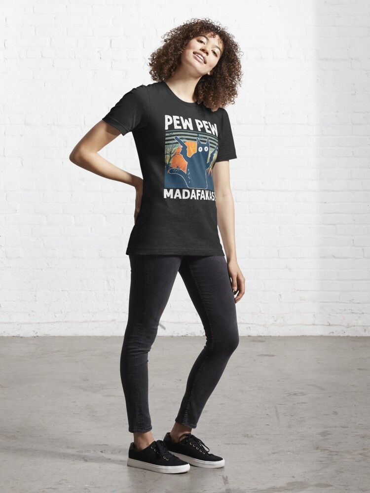 Alternate view of Vintage Retro Black Cat Pew Pew Madafakas! funny Gift for Halloween 2020 Essential T-Shirt