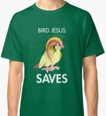 Twitch Plays Pokemon: Bird Jesus Saves - Green with White Text Classic T-Shirt