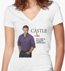 He Really Is Ruggedly Handsome - Castle Nathan Fillion Women's Fitted V-Neck T-Shirt
