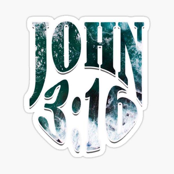 John 3:16 (blue) Sticker