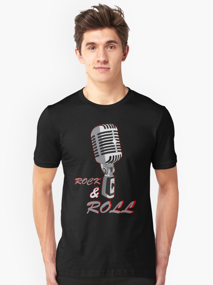 Rock and Roll, microphone Unisex T-Shirt Front