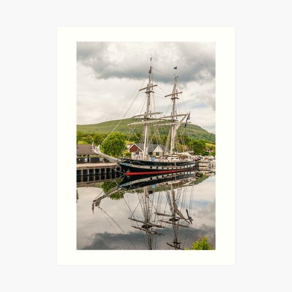 Ship, Sail training vessel, TS Royalist, Docked, Neptunes Staircase, Banavie, Scotland Art Print