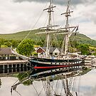 Ship, Sail training vessel, TS Royalist, Docked, Neptunes Staircase, Banavie, Scotland by Hugh McKean