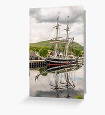 Ship, Sail training vessel, TS Royalist, Docked, Neptunes Staircase, Banavie, Scotland Greeting Card