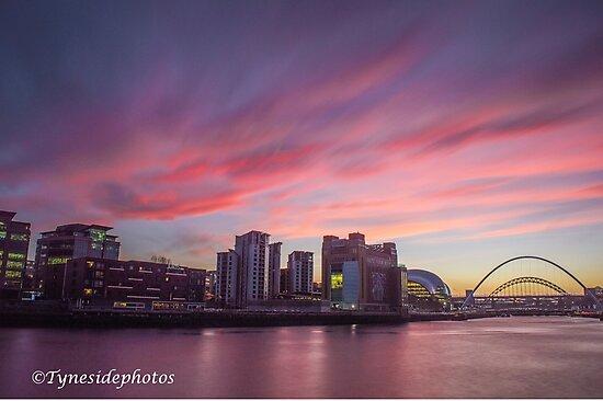 Sunset on Newcastle / Gateshead Quayside by tynesidephotos