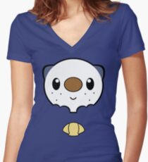 Oshawott Face Women's Fitted V-Neck T-Shirt