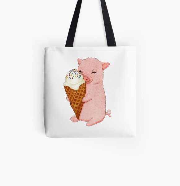 Baby Pig holding an Ice Cream   All Over Print Tote Bag