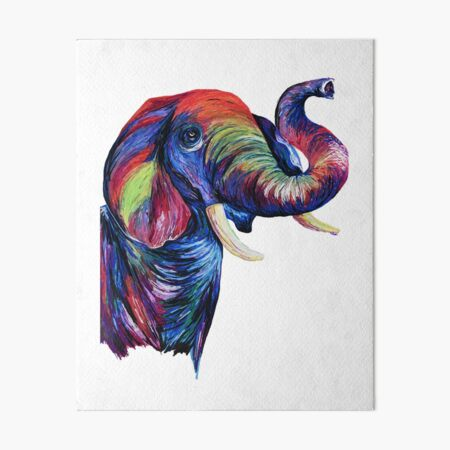 Rainbow Elephant Art Board Print