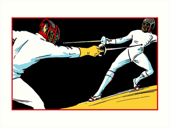 Fencing retro vintage style drawing by aapshop