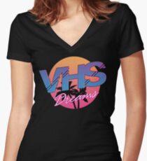 VHS Dreams Summer Logo Women's Fitted V-Neck T-Shirt