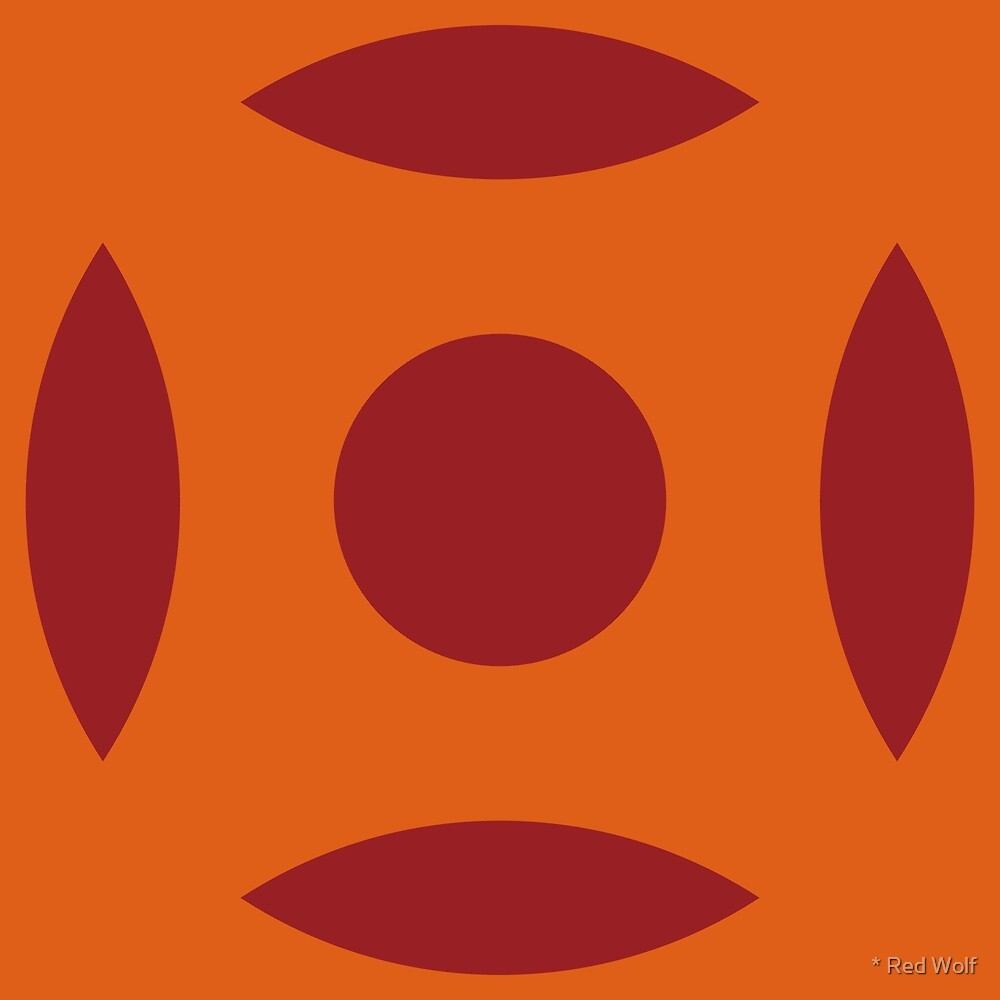 Geometric Pattern: Intersect Circle: Blood Orange by * Red Wolf