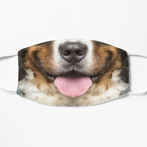 bernese mountain dog cute mouth face masks  Flat Mask