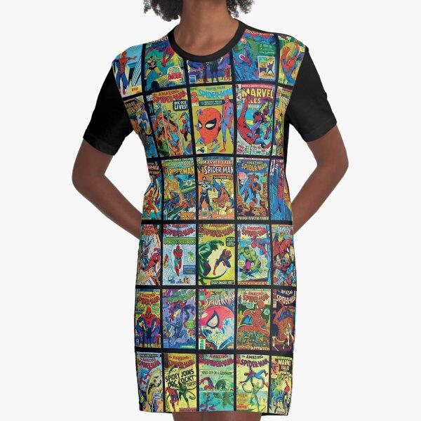 Vintage Superhero Comic Book Collection Pattern 3 Graphic T-Shirt Dress
