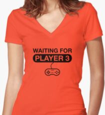 Waiting For Player 3. Maternity T -Shirt Women's Fitted V-Neck T-Shirt