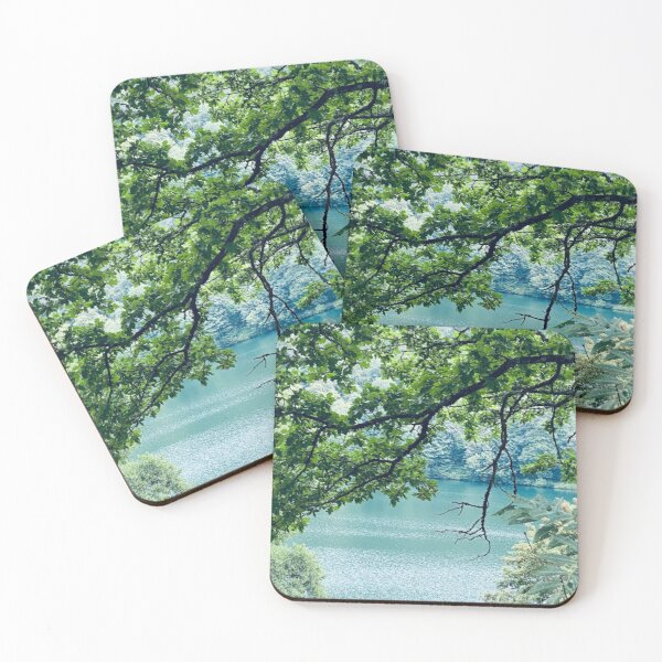 Tree over a turquoise water Coasters (Set of 4)
