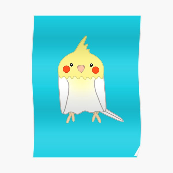 Cute white yellow cockatiel bird Poster