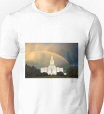 Jordan River Temple Under the Rainbow 30x20 Unisex T-Shirt