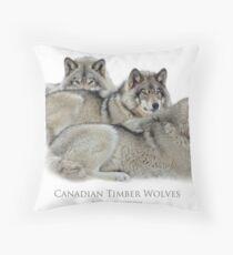 Canadian Timber Wolves Throw Pillow