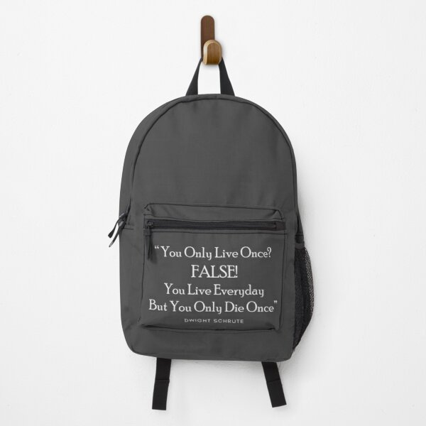 YOLO? FALSE! Dwight Shrute The Office Dunder Mifflin Backpack