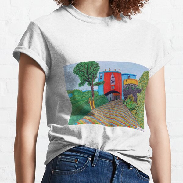 436 - BRIDGE HOUSE, PORTMEIRION - DAVE EDWARDS - COLOURED PENCILS & FINELINERS Classic T-Shirt