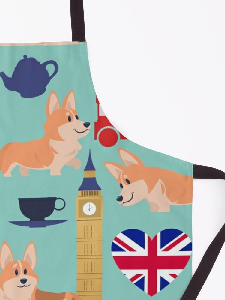 Alternate view of Welsh Corgi Dog Breed In London England, Cute Corgis In Great Britain - United Kingdom Turquoise Apron