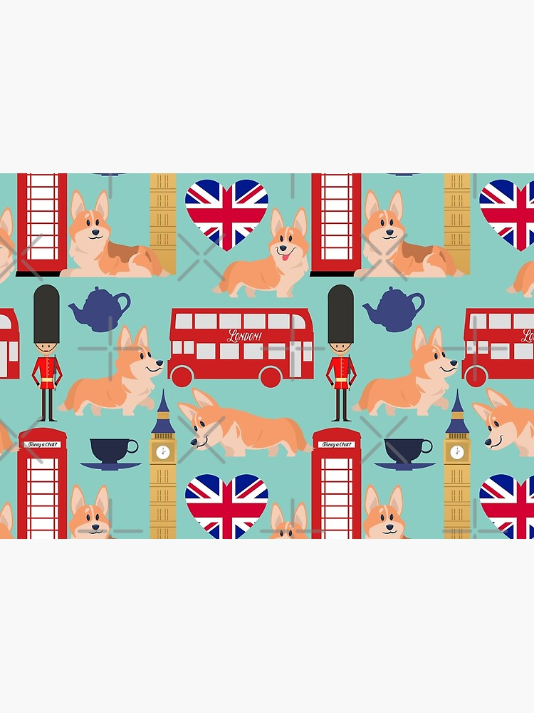 Welsh Corgi Dog Breed In London England, Cute Corgis In Great Britain - United Kingdom Turquoise by Corgiworld