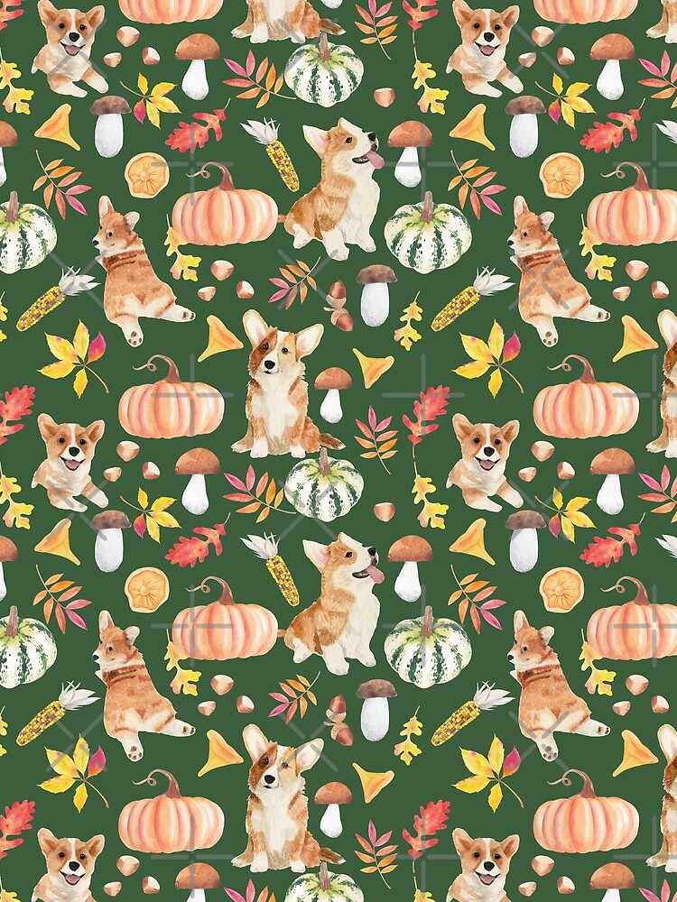 Welsh Corgi Dog Breed Fall Party -Cute Corgis Celebrate Autumn With Pumpkins Mushrooms Leaves - Oliv Green by Corgiworld