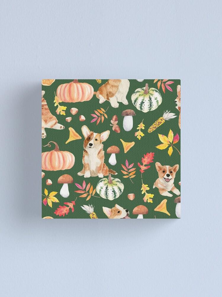 Alternate view of Welsh Corgi Dog Breed Fall Party -Cute Corgis Celebrate Autumn With Pumpkins Mushrooms Leaves - Oliv Green Canvas Print