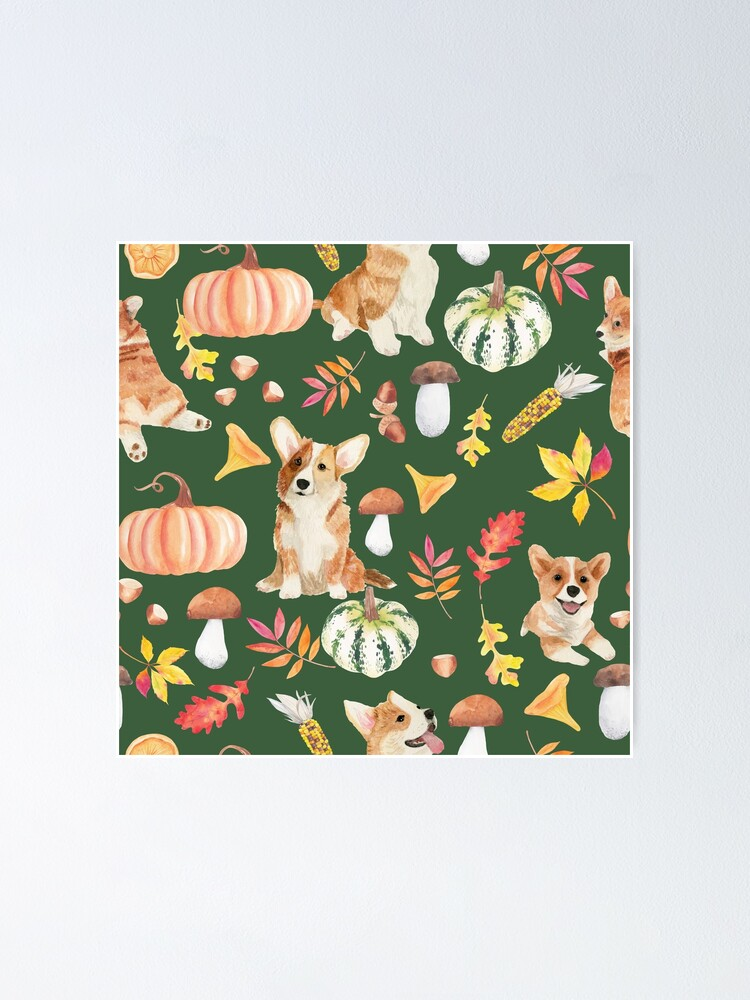 Alternate view of Welsh Corgi Dog Breed Fall Party -Cute Corgis Celebrate Autumn With Pumpkins Mushrooms Leaves - Oliv Green Poster