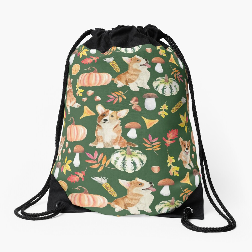 Welsh Corgi Dog Breed Fall Party -Cute Corgis Celebrate Autumn With Pumpkins Mushrooms Leaves - Oliv Green Drawstring Bag