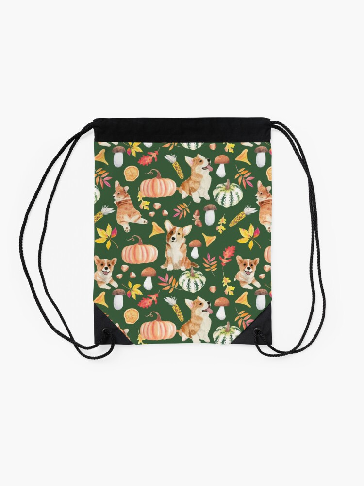 Alternate view of Welsh Corgi Dog Breed Fall Party -Cute Corgis Celebrate Autumn With Pumpkins Mushrooms Leaves - Oliv Green Drawstring Bag