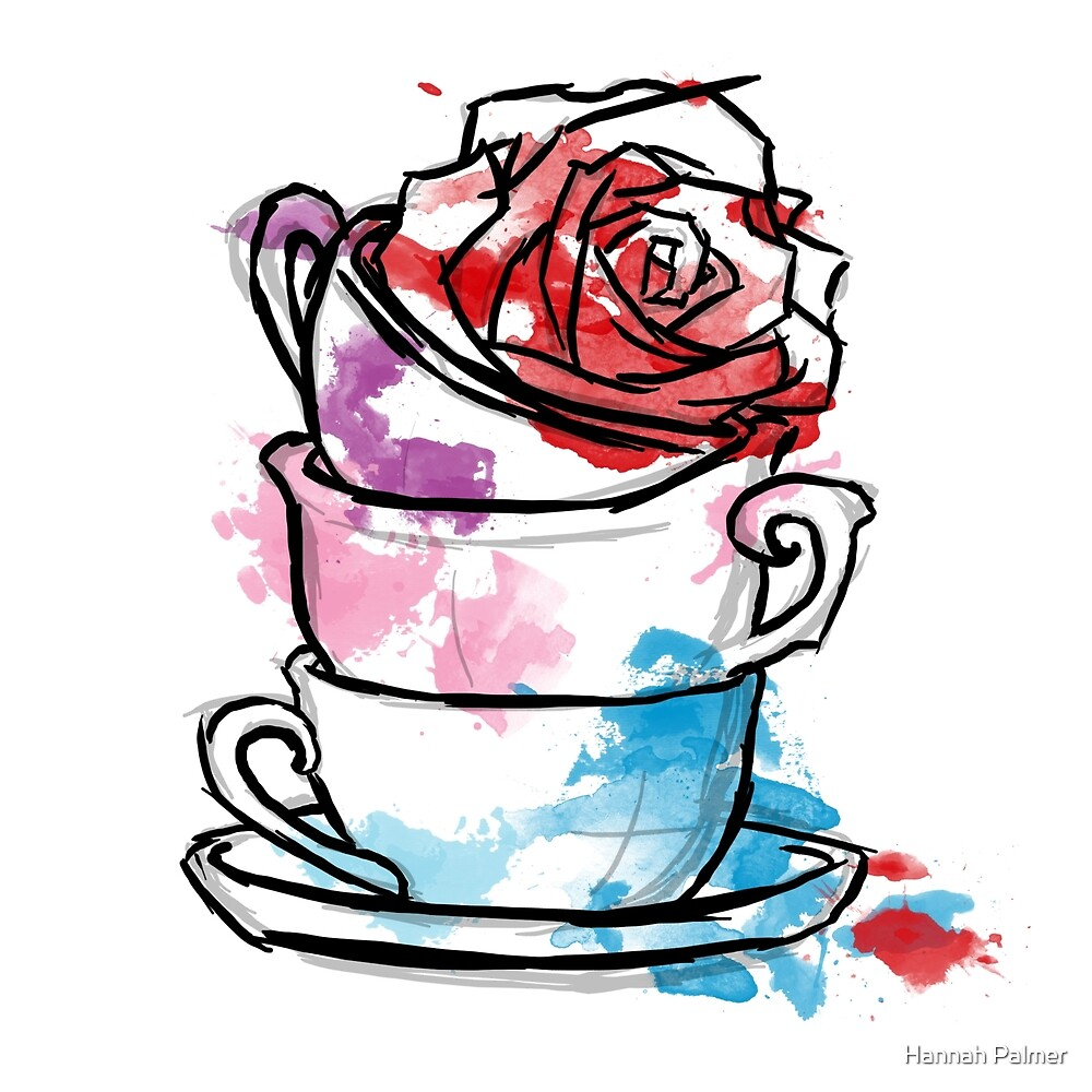 Watercolour Rose Teacups by Hannah Palmer