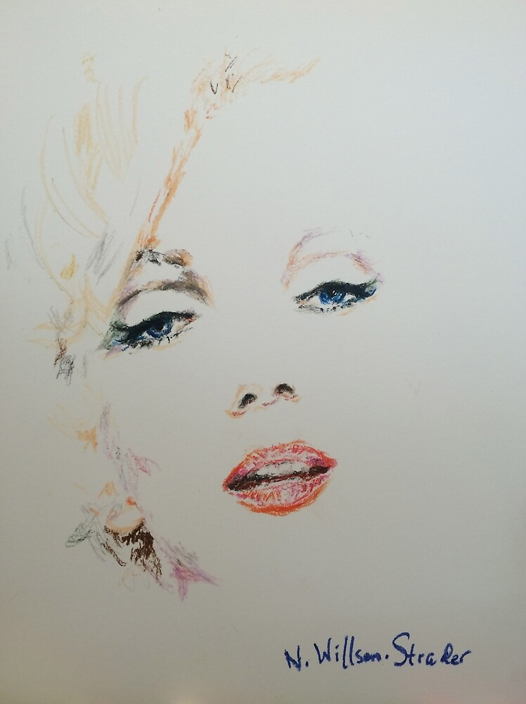 Marilyn, Charcoal and Pastel by NWillsonStrader