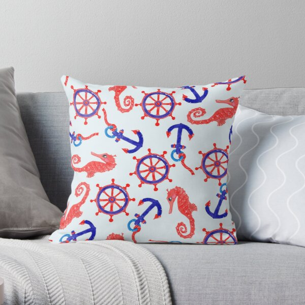 Under The Sea - Red Seahorse  Throw Pillow
