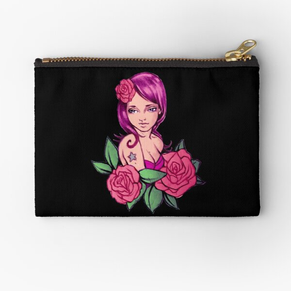 Adorable Pin up Girl Floral Roses Black Zipper Pouch