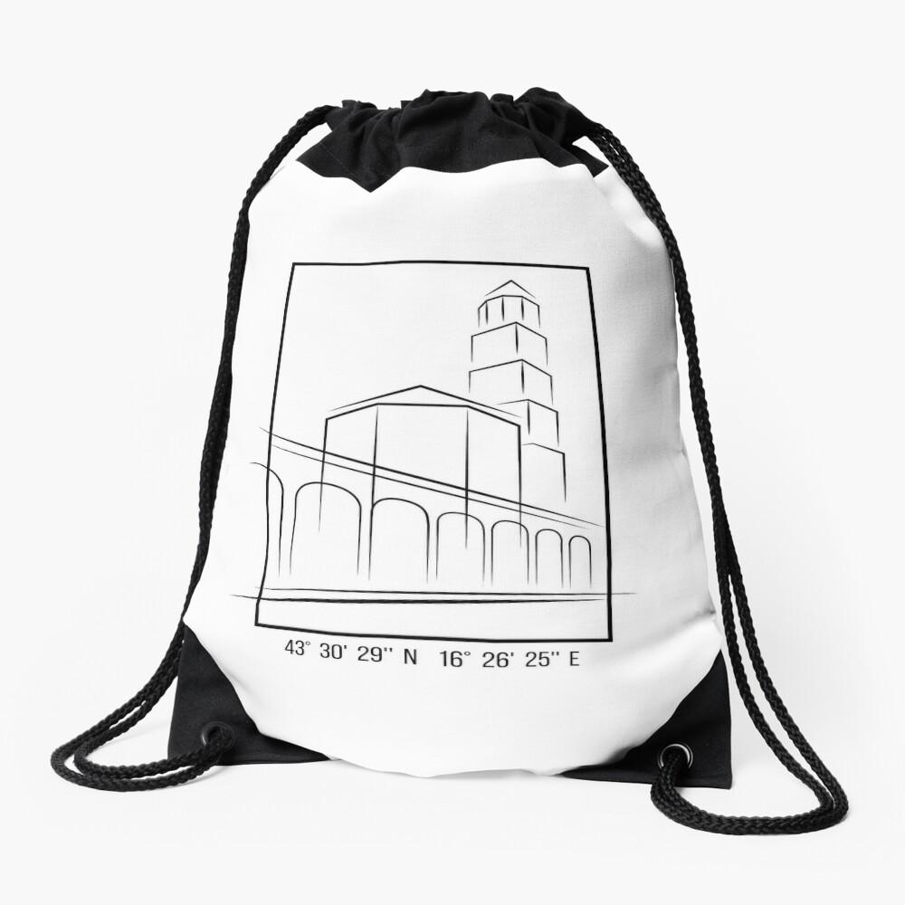 SIMPLE CITY DRAWING | SPLIT, CROATIA Drawstring Bag